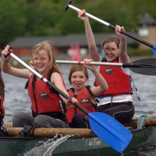 Canoe rafting at Castle Semple