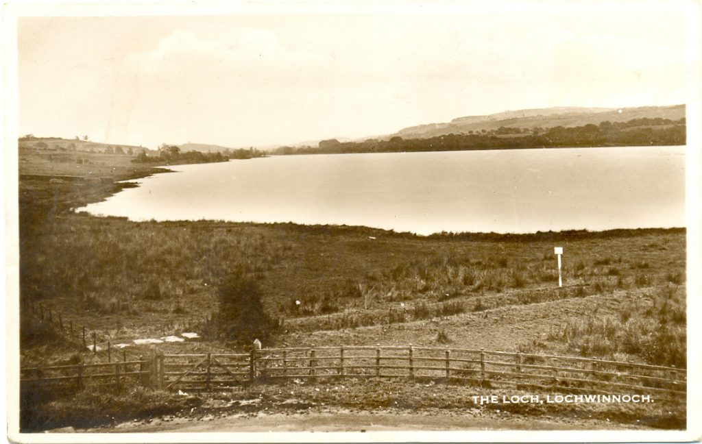 Loch Lip Road looking on to Castle Semple Loch, black and white photo